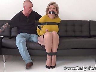 Mature chick, Cooky Sonia was bound up, while her colleague was gripping her meaty milk cans