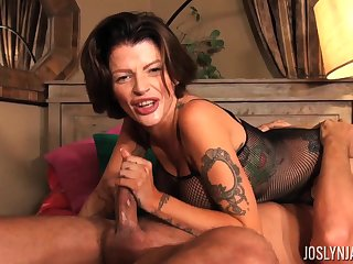 He pounds Joslyn James's ass hard from behind and cums on say no to tits