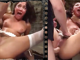 Messy loveliness plowed xxx with five hefty penises!