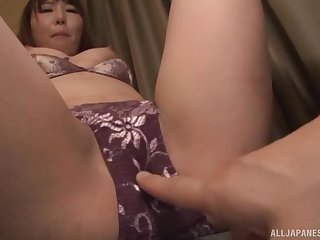 Japanese mollycoddle gets her panties removed and pussy fingered